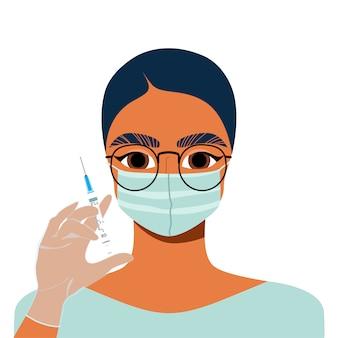 의사는 주사기를 들고입니다. 그녀의 손에 주사기와 여성 화장품 마스터. 미용 산업 및 주입 개념. 얼굴 충전제, 비타민 주사.