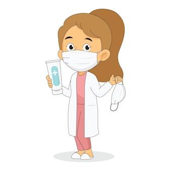 消毒剤ジェルボトルとフェイスマスクを持って見せている医師