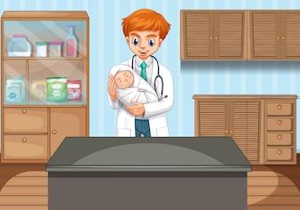 Доктор держит ребенка в клинике