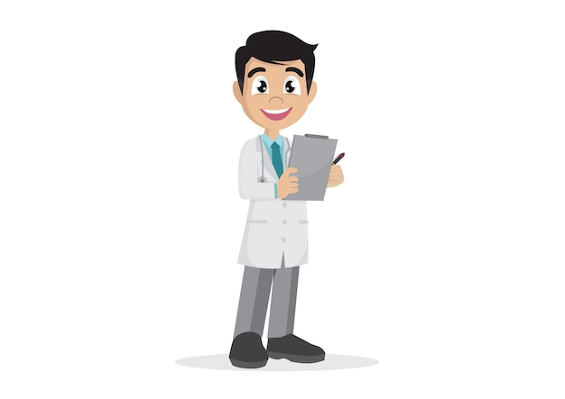 Doctor holding clipboard and takes notes on it.