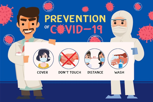 Doctor holding information paper of covid-19  prevention tips. -