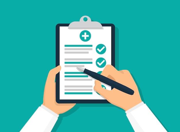 医療レポートを保持している医師。フラットベクトルイラスト。チェックリスト付きクリップボード