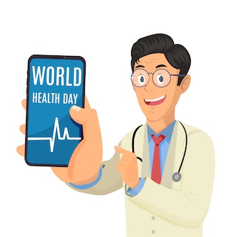Doctor holding phone and showing words world health day