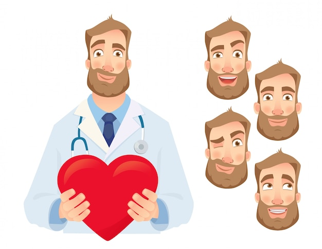 Doctor holding red heart   set