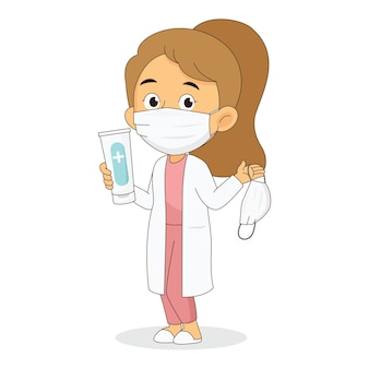 Doctor holding and showing sanitizer gel bottle and face mask