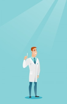 Doctor holding syringe vector illustration.