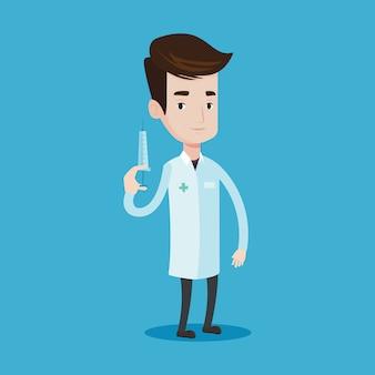 Doctor holding syringe  .
