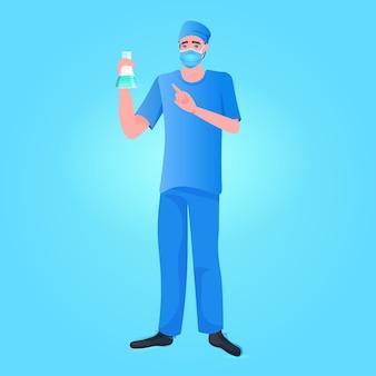 Covid-19 개념에 대한 코로나 바이러스 세포 샘플 백신 개발 싸움과 테스트 튜브를 들고 의사