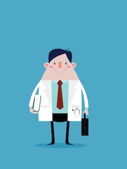 Доктор, держа сумку и документ в руке. вектор