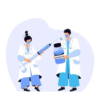 医者はコロナウイルスワクチンの入った瓶を持っています。看護師は巨大な注射器を持っています。予防接種キャンペーン。予防接種の時間です。