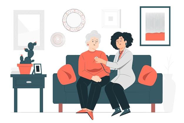 Illustrazione del concetto di dottore a casa