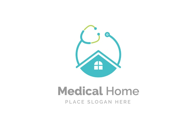 Doctor home logo design with stethoscope icon.