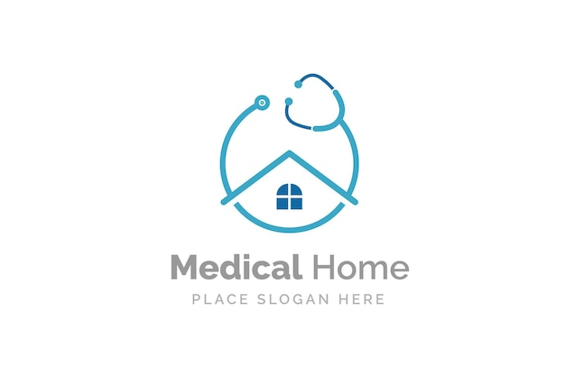 Doctor home logo design with stethoscope icon