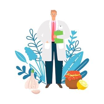 의사 동종 요법. 자연 요법, 천연 제품 치료. 의사, 허브 및 전통 의학 벡터 일러스트 레이 션
