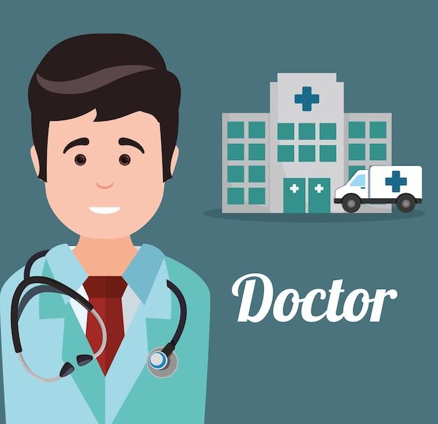 Doctor hospital ambulance heatlhy
