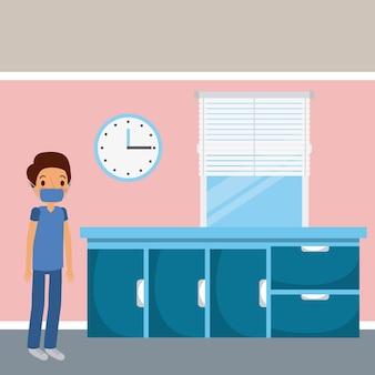 医者の病院のワードの家具の引き出し時計と窓