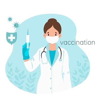 注射器と碑文のワクチン接種を分離したマスクの医師