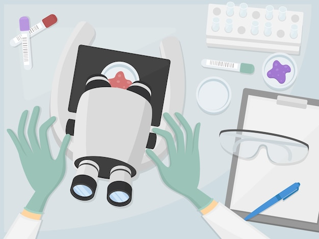 Доктор в лабораторном рабочем месте дизайн угла стола. больница портативных компьютеров. иллюстрация flat art.