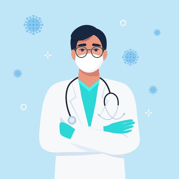 Доктор в маске со стетоскопом. концепция контроля коронавируса.