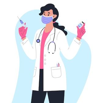 Врач в медицинском халате с вакциной