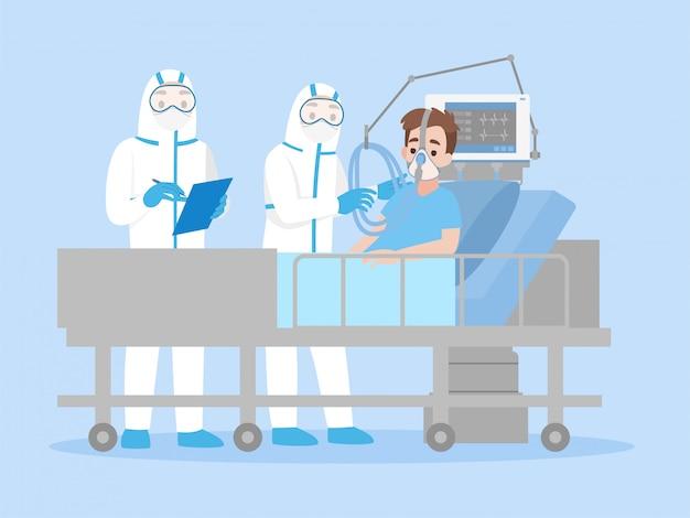 Доктор в средствах индивидуальной защиты сиз одежда лечит парня