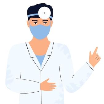 Доктор в защитной маске и отражателе на голове