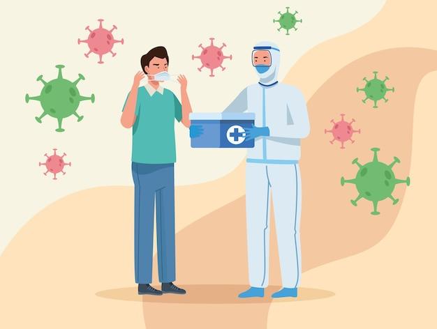 防護服を着た医師とマスクを持つ男
