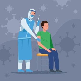 保護服の予防接種の少年の医者