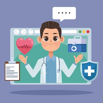 Доктор в шаблоне веб-страницы