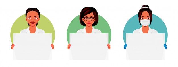 Доктор в белой форме держит пустой плакат шаблон