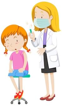 女の子の漫画のキャラクターのためにインフルエンザワクチンを注射する医師