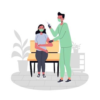 Medico che inietta il vaccino a un paziente illustrato