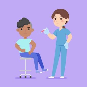 Medico che inietta il vaccino a un paziente