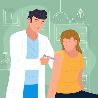 Doctor injecting vaccine to a patient