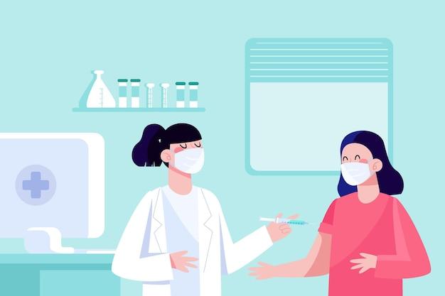 삽화가 환자에게 백신을 주입하는 의사