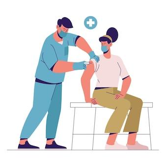 Врач вводит вакцину пациенту на иллюстрации