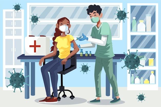 図解された患者にワクチンを注射する医師