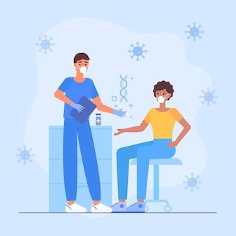 환자 그림에 백신을 주입하는 의사