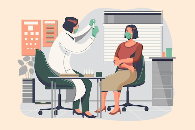 医師が患者にワクチンを注射する