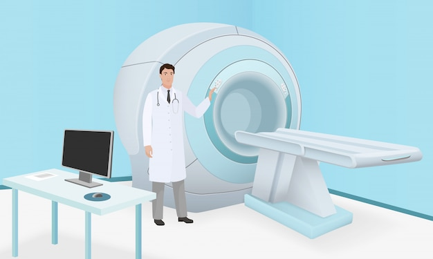 Doctor invites to mri scanner machine