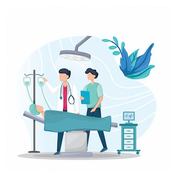 医師は医療ベッドで患者をチェックしています