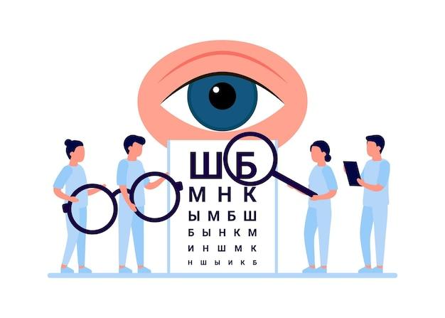 Врач осматривает зрение. осмотр глаз людей, лечение коррекции фокуса. офтальмология. оптометрист, офтальмолог, медперсонал в очках, проверка зрения. плоский