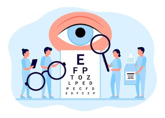의사는 검진 눈 시력 검사 눈 사람들 초점 교정 치료 안과