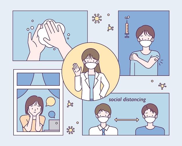 医者は感染症を防ぐ方法を説明しています