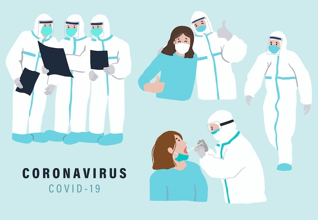 Doctor is working to prevent the spread of bacteria,coronavirus. illustration for object, poster,sticker and website