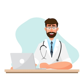 Doctor is working in a room with laptop. medical background.  illustration flat character