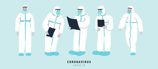 의사는 박테리아, 코로나 바이러스의 확산을 막기 위해 노력하고 있습니다. 개체, 포스터, 스티커 및 웹 사이트에 대한 그림