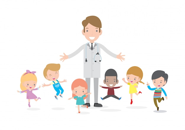 Doctor and kids. doctor standing together with children,