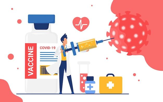 큰 주사기 주입을 들고 항 바이러스 백신으로 코로나 바이러스를 죽이는 의사
