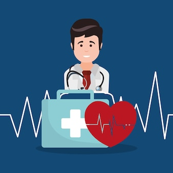 Doctor kit first aid heartbeat Premium Vector